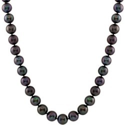 Rhodium Plated Sterling Silver 10-11mm Dyed Black Shell Pearl Necklace - Black - Splendid Necklaces found on Bargain Bro from lyst.com for USD $121.60