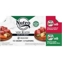 Nutro Grain-Free Simmered Beef Stew & Savory Lamb Stew Cuts in Gravy Variety Pack Adult Dog Food Trays, 3.5-oz, case of 12
