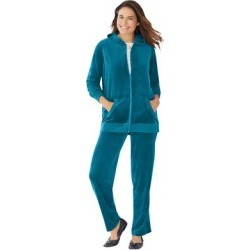 Plus Size Women's 2-Piece Velour Hoodie Set by Woman Within in Deep Teal (Size 30/32) found on Bargain Bro Philippines from fullbeauty for $49.99