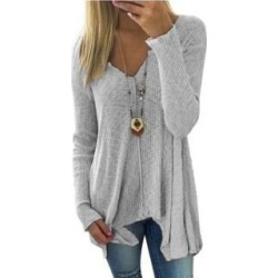 maternity Women's V Neck Irregular Hem Long Sleeve Shirt Tunic (Grey - XXL), Gray found on MODAPINS from Overstock for USD $46.49