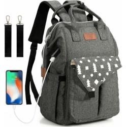 Costway Large Waterproof Diaper Bag Backpack with USB Charging