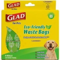 Glad Eco-Friendly Lavender Scented Dog Waste Bags, 120 count