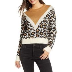 Leon Colorblock Leopard Jacquard Sweater - Black - Vero Moda Knitwear found on MODAPINS from lyst.com for USD $65.00
