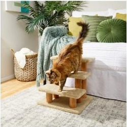 Frisco 20-in 3-Step Real Carpet Wooden Cat Steps, Beige