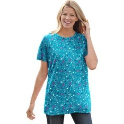 Plus Size Women's Perfect Printed Short-Sleeve Crewneck Tee by Woman Within in Waterfall Lovely Ditsy (Size 4X) found on Bargain Bro Philippines from fullbeauty for $14.99