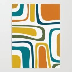 Art Poster | Palm Springs Midcentury Modern Abstract In Moroccan Teal, Orange, Mustard, Olive, And White by Kierkegaard Design Studio - 18