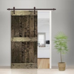 38 in x 84 in Espresso Stained 2 Panel Barn Door with Sliding Hardware found on Bargain Bro India from Overstock for $431.99