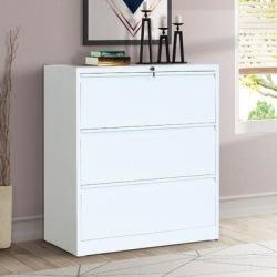 Inbox Zero Elinor 3-Drawer Vertical Filing Cabinet Metal/Steel in White, Size 40.3 H x 35.4 W x 17.7 D in | Wayfair found on Bargain Bro Philippines from Wayfair for $929.99
