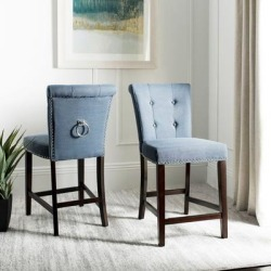 Safavieh 26- Inch Taylor Navy/ Espresso Tufted Counter Stool (Set of 2) - 20