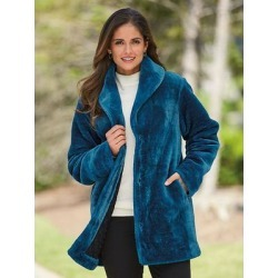 Haband Womens Faux-Fur Coat, Dark Teal, Size L found on Bargain Bro Philippines from Haband for $29.99