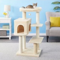 Frisco 48-in Heavy Duty Faux Fur Cat Tree & Condo, Cream found on Bargain Bro Philippines from Chewy.com for $72.99