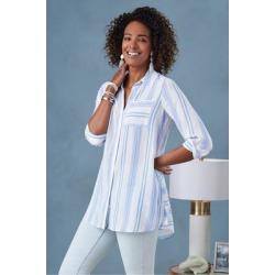 Women Ladson Shirt by Soft Surroundings, in Cornflower Blue Stripe size 1X (18-20)