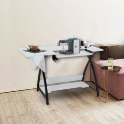 Sewing Machine Table Cutting Table Worktable Computer Desk (White - Steel Finish) found on Bargain Bro Philippines from Overstock for $259.99