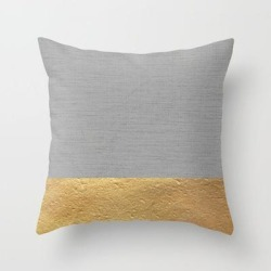 Couch Throw Pillow | Color Blocked Gold & Grey by Caitlin Workman - Cover (16
