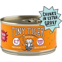 Tiny Tiger Chunks in EXTRA Gravy Turkey Recipe Grain-Free Canned Cat Food, 3-oz, case of 24