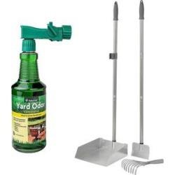 NaturVet Yard Odor Eliminator + Frisco Rake and Spade Set with Dustpan, Large
