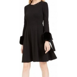 Calvin Klein Women's Dress Black Size 6 A-Line Faux Fur Bow Cuff (6) found on Bargain Bro from Overstock for USD $44.06