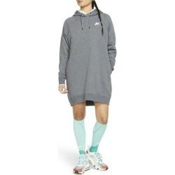 Essential Fleece Hooded Sweatshirt Dress - Gray - Nike Dresses found on Bargain Bro from lyst.com for USD $57.00