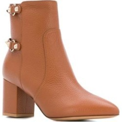 Valentino Women's Pebbled Leather Rockstud Block Heel Boots Brown found on Bargain Bro from Overstock for USD $551.00
