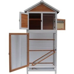 Bird Cage Wooden Cockatiel Parakeet Canary Finch Conure Play House - 64''