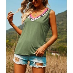 Floral Blooming Women's Tank Tops Green - Green Leopard-Trim V-Neck Tank - Women found on Bargain Bro India from zulily.com for $14.99