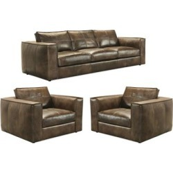 Orren Distressed Brown Top Grain Leather Sofa and Two Chairs found on Bargain Bro Philippines from Overstock for $10989.99