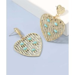 amorcome Women's Earrings gold - Aqua & Goldtone Heart Drop Earrings found on Bargain Bro India from zulily.com for $10.99