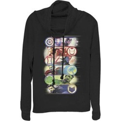 Fifth Sun Women's Sweatshirts and Hoodies BLACK - Avengers Black Group Badges Cowl Neck Sweatshirt - Women & Plus found on Bargain Bro from zulily.com for USD $21.27