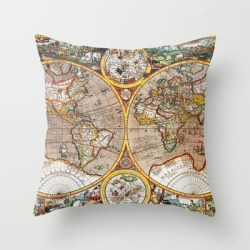 "Vintage World Map Couch Throw Pillow by Map Shop - Cover (16"" x 16"") with pillow insert - Indoor Pillow"