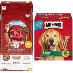 Purina ONE SmartBlend Healthy Weight High Protein Formula Adult Dry Food + Milk-Bone Original Large Biscuit Dog Treats