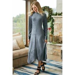 Women Salvaza Velvet Dress by Soft Surroundings, in Grey size 1X (18-20)