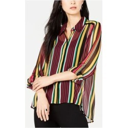 INC Womens Pink Striped Long Sleeve V Neck Tunic Top Size M (Pink - M), Women's(Polyester) found on Bargain Bro India from Overstock for $25.98