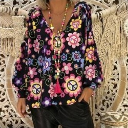 Women's Tops Loose Slim V-Neck Print Puff Sleeve T-Shirt (Black - L)(chiffon) found on Bargain Bro Philippines from Overstock for $29.88