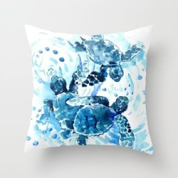"""Three Sea Turtles, Blue Bathroom Turtle Artwork, Underwater Couch Throw Pillow by Surenart - Cover (16"""" x 16"""") with pillow insert - Indoor Pillow"""
