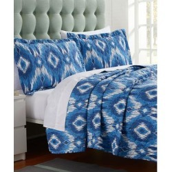 Spirit Linen Home Quilt Sets BLUE - Blue & White Madrid Oversize Quilt Set found on Bargain Bro Philippines from zulily.com for $24.99