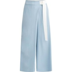 Wide Leg Wrap Trousers In Light Blue & White - Blue - Paisie Pants found on MODAPINS from lyst.com for USD $181.00