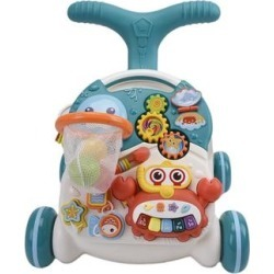 WonderPlay 2 In 1 Baby Walker & Game Table with Light & Music Infant 12 - 24 months - Blue