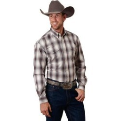 Roper Western Shirt Mens Button Plaid L/S Gray (2XT), Men's(cotton) found on Bargain Bro India from Overstock for $57.94