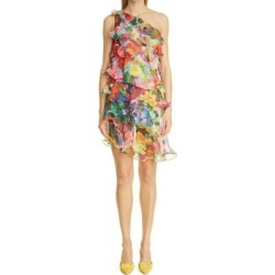 One-shoulder Tiered Cocktail Minidress - Red - Marchesa notte Dresses found on MODAPINS from lyst.com for USD $595.00