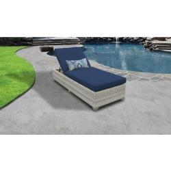 Fairmont Chaise Outdoor Wicker Patio Furniture in Navy - TK Classics Fairmont-1X-Navy