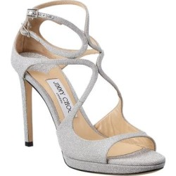 Jimmy Choo Lance 100 Glitter Sandal (37.5), Women's, Silver(leather) found on MODAPINS from Overstock for USD $658.90
