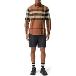 Check Poplin Shirt - Brown - Burberry Shirts found on Bargain Bro from lyst.com for USD $224.20