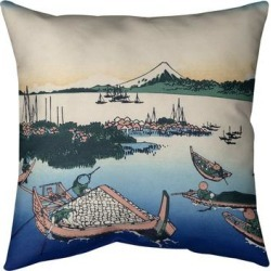 Porch & Den Katsushika Hokusai 'Tsukuda Island in Musashi Province' Throw Pillow found on Bargain Bro from Overstock for USD $66.49