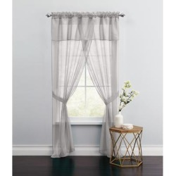 Wide Width BH Studio Sheer Voile 5-Pc. One-Rod Curtain Set by BH Studio in Silver (Size 96