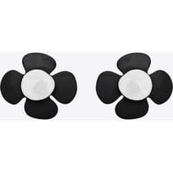Flower Cufflinks In Metal And Lacquer - Black - Saint Laurent Earrings found on MODAPINS from lyst.com for USD $495.00