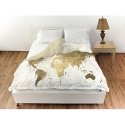 Oliver Gal 'Mapamundi White Gold' Duvet Cover (Queen), Oliver Gal Artist Co. found on Bargain Bro from Overstock for USD $109.43