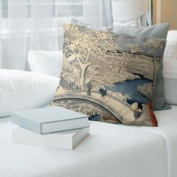 Porch & Den Utagawa Hiroshige 'Meguro Drum Bridge and Sunset Hill' Throw Pillow (18 x 18 - Green & Blue Ombre - Cotton) found on Bargain Bro from Overstock for USD $56.61
