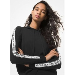 Michael Kors Logo Tape Stretch Viscose Hoodie Black S found on MODAPINS from Michael Kors for USD $131.25