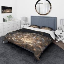 Designart 'Fractal Flower with Golden Rays' Traditional Bedding Set - Duvet Cover & Shams found on Bargain Bro from Overstock for USD $81.31