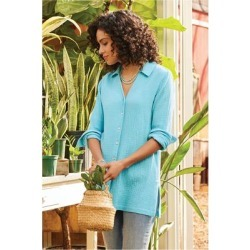 Women's Escambia Shirt by Soft Surroundings, in Blue Topaz size XS (2-4)